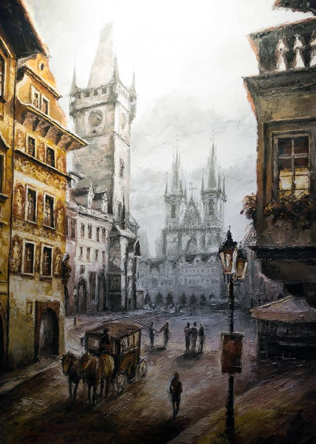 Escena histórica colorida del vintage de Praga, pintura del arte de la calle ilustración del vector
