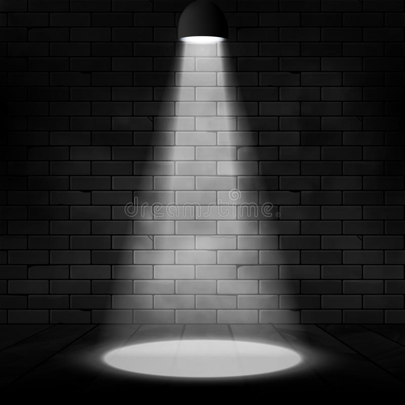 Escena iluminada proyector y pared de ladrillo del vector Fondo del efecto del resplandor Decoración de la etapa con la lámpara d libre illustration