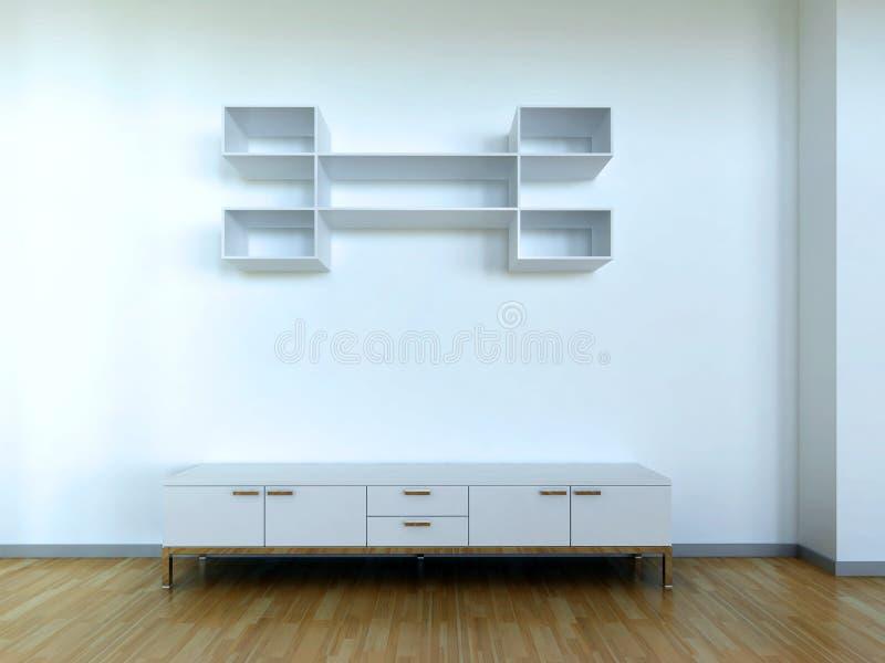 Escena interior con el gabinete stock de ilustración