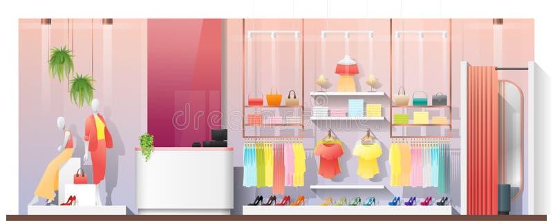 Escena interior de la tienda de ropa moderna de las mujeres stock de ilustración