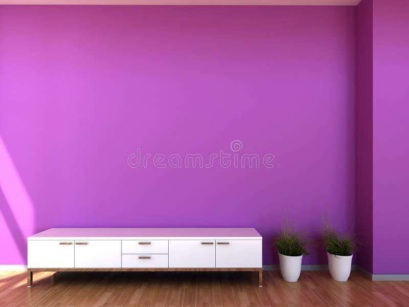 Escena interior en colores púrpuras stock de ilustración