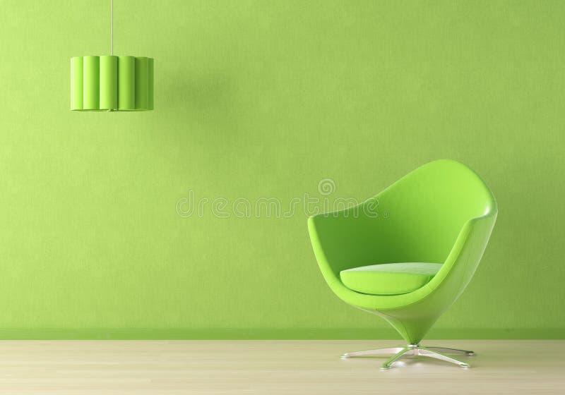 Escena interior verde ilustración del vector