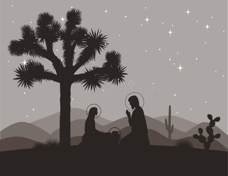 Escena inusual de la natividad con la yuca Familia del santo y siluetas de las montañas Vector el ejemplo, Maria, Jesús, y stock de ilustración
