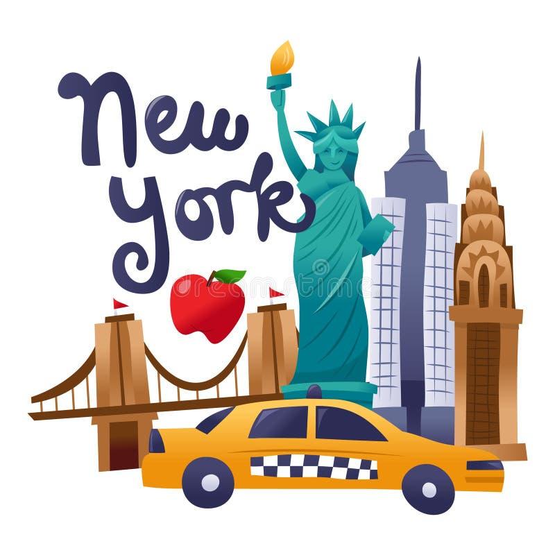 Escena linda estupenda de la cultura de Nueva York stock de ilustración