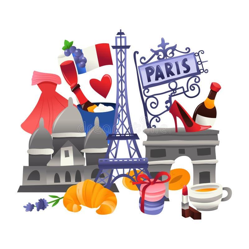 Escena linda estupenda de la cultura de París libre illustration