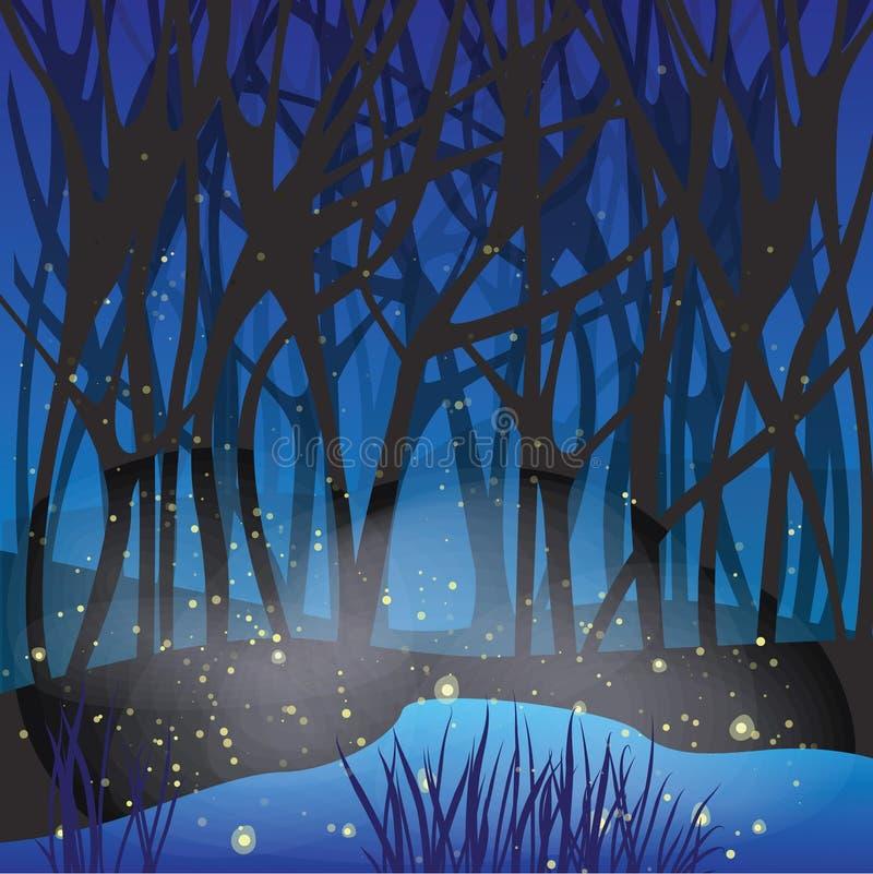 Escena mágica de la noche con las luciérnagas. stock de ilustración