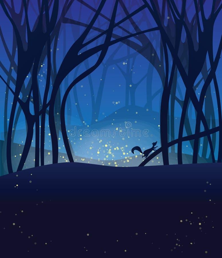 Escena mágica de la noche con las luciérnagas y la ardilla corriente. ilustración del vector