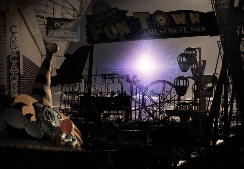 Escena macabra del circo del carnaval ilustración del vector