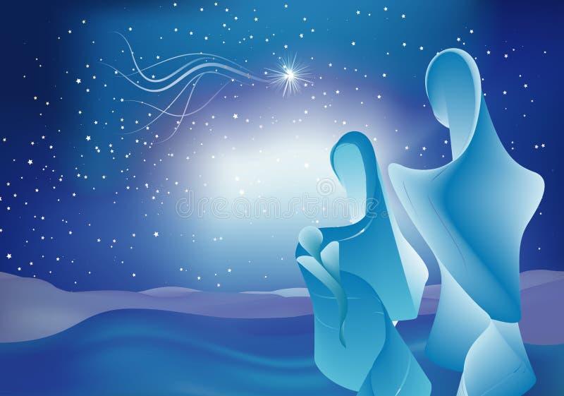 Escena moderna de la natividad con el bebé Jesús - Maria y José Familia santa en fondo estrellado del cielo azul bethlehem stock de ilustración