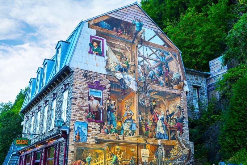 Escena mural de la pared histórica en la ciudad de Quebec vieja, Canadá imagen de archivo