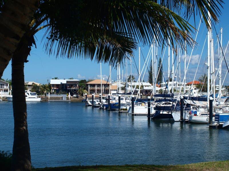 Escena náutica del puerto deportivo Mooloolaba imagen de archivo