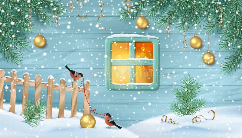 Escena nevosa del invierno stock de ilustración