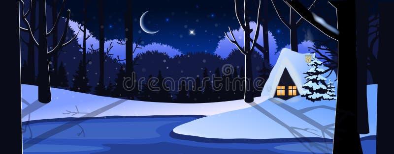 Escena nevosa tranquila del paisaje de la noche del invierno lindo con poca casa ilustración del vector