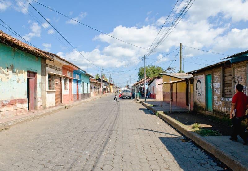 Escena Nicaragua de la calle de Leon foto de archivo
