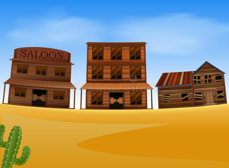 Escena occidental de la ciudad con el edificio de madera libre illustration