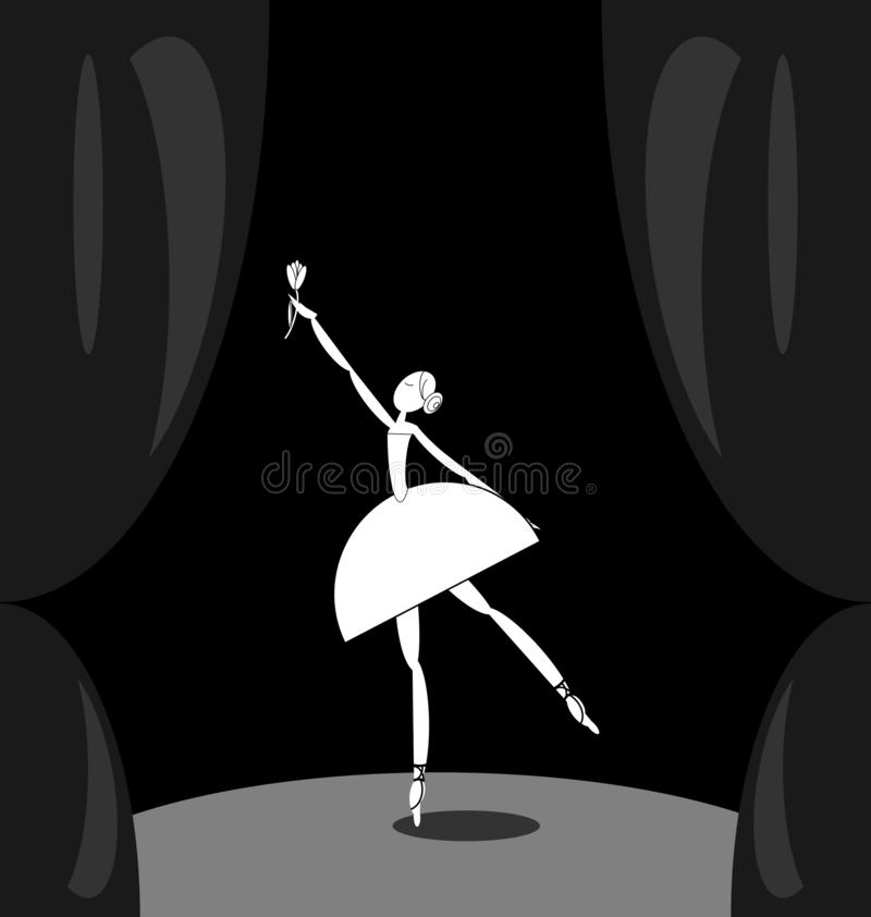 Escena oscura y bailarín de ballet abstracto blanco libre illustration