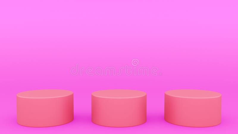 Escena púrpura 3d mínimo de tres podios cilíndricos que rinde mofa minimalistic moderna para arriba, plantilla en blanco, escapar libre illustration