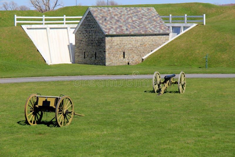 Escena pacífica de los canones puestos en propiedad cerca de la vieja estructura de piedra, fuerte Ontario, Nueva York, 2017 imagen de archivo libre de regalías