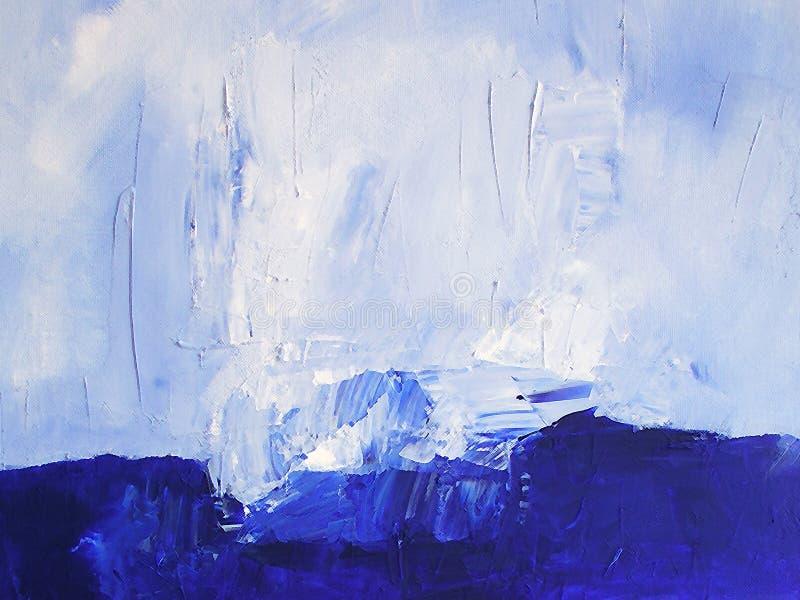 Escena pintada del océano/textura abstracta en azul libre illustration