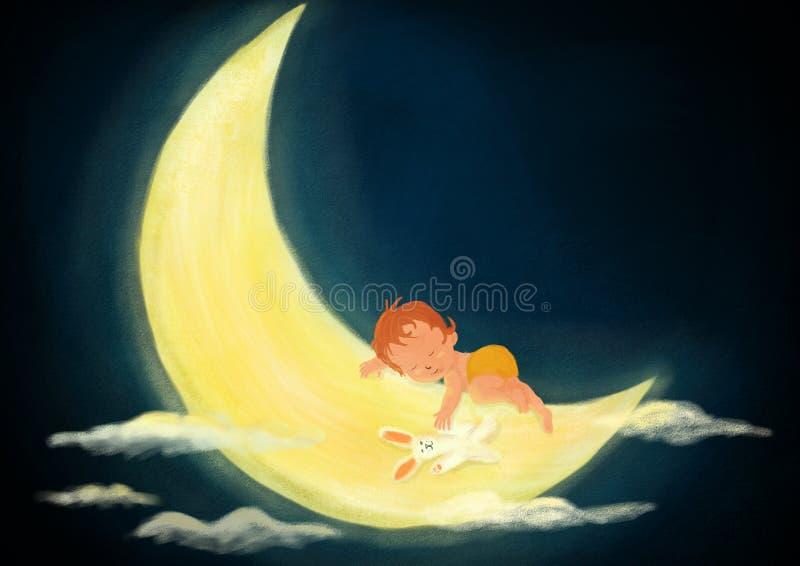 Escena pintada Digitaces de la noche del niño del bebé que duerme en la luna ligera a ilustración del vector