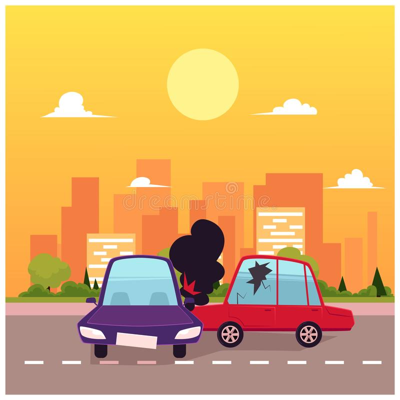 Escena plana del accidente de tráfico de la historieta del vector ilustración del vector