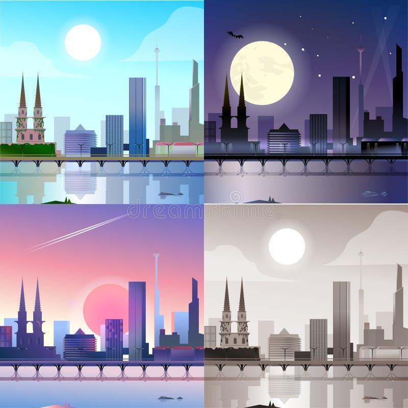 Escena plana del terraplén de la ciudad fijada: día, noche, puesta del sol, sepia ilustración del vector