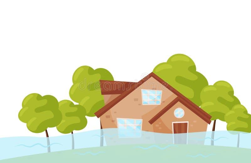 Escena plana del vector con la casa inundada y los árboles verdes Desastre de inundación Catástrofe natural Situación de emergenc ilustración del vector