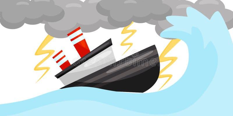 Escena plana del vector con la nave en tormenta fuerte del relámpago Onda del mar y nubes gris oscuro Tiempo extremo Desastre nat stock de ilustración