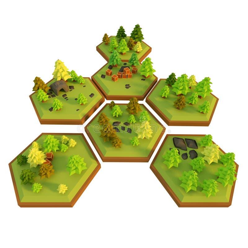 Escena polivinílica baja de los niveles de un estilo del juego, ejemplo 3d ilustración del vector