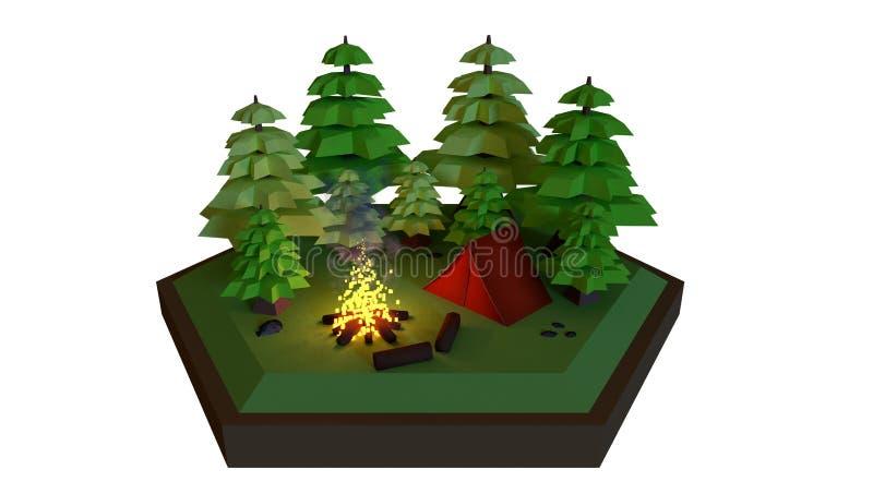 Escena polivinílica baja de un campo, del nigt ejemplo 3d stock de ilustración