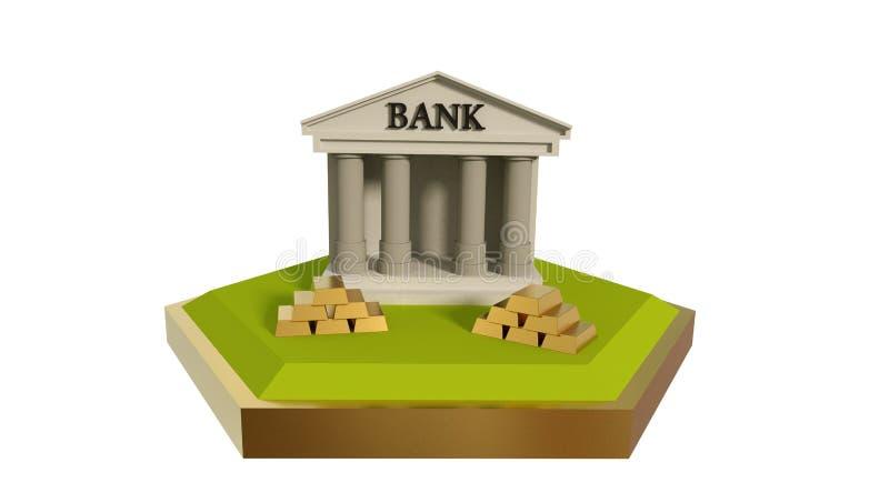 Escena polivinílica baja del banco con el oro, ejemplo 3d stock de ilustración