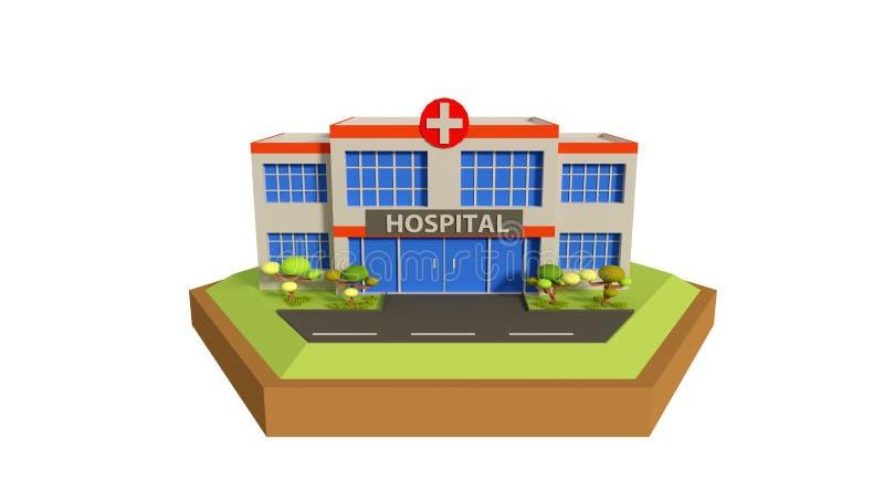 Escena polivinílica baja del hospital, ejemplo 3d stock de ilustración