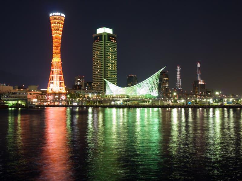 Escena portuaria de la noche de Kobe foto de archivo