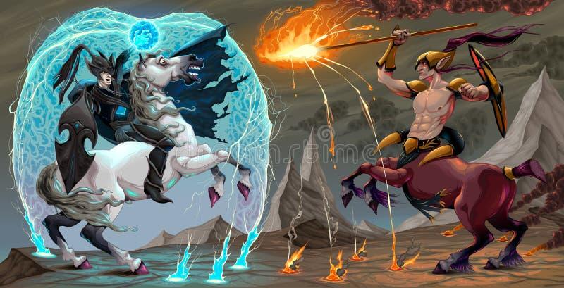 Escena que lucha entre el duende y el centauro oscuros libre illustration