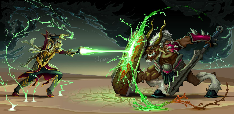 Escena que lucha entre el duende y la bestia stock de ilustración