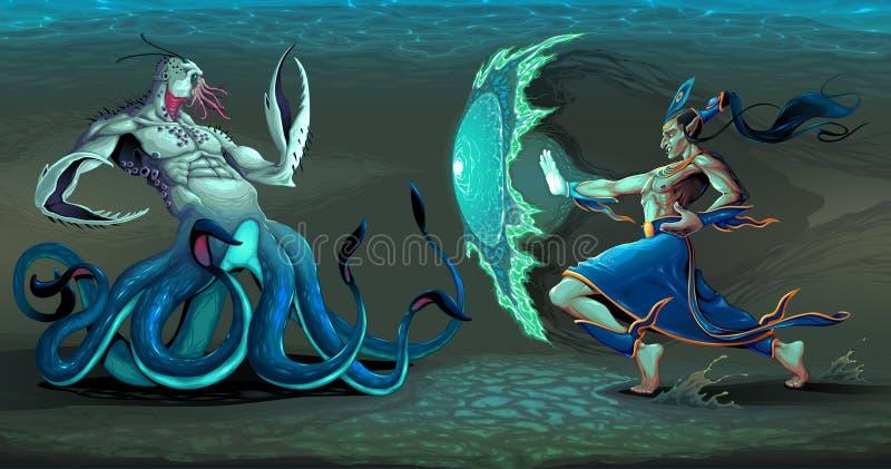 Escena que lucha entre el duende y el monstruo de mar stock de ilustración