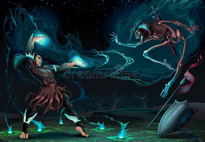 Escena que lucha entre el mago y el esqueleto stock de ilustración