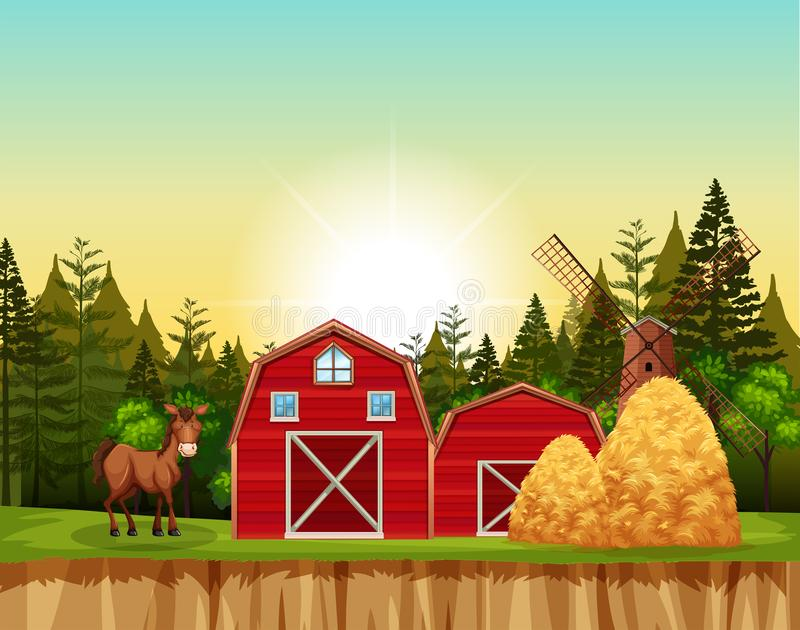 Escena roja del granero y del caballo ilustración del vector