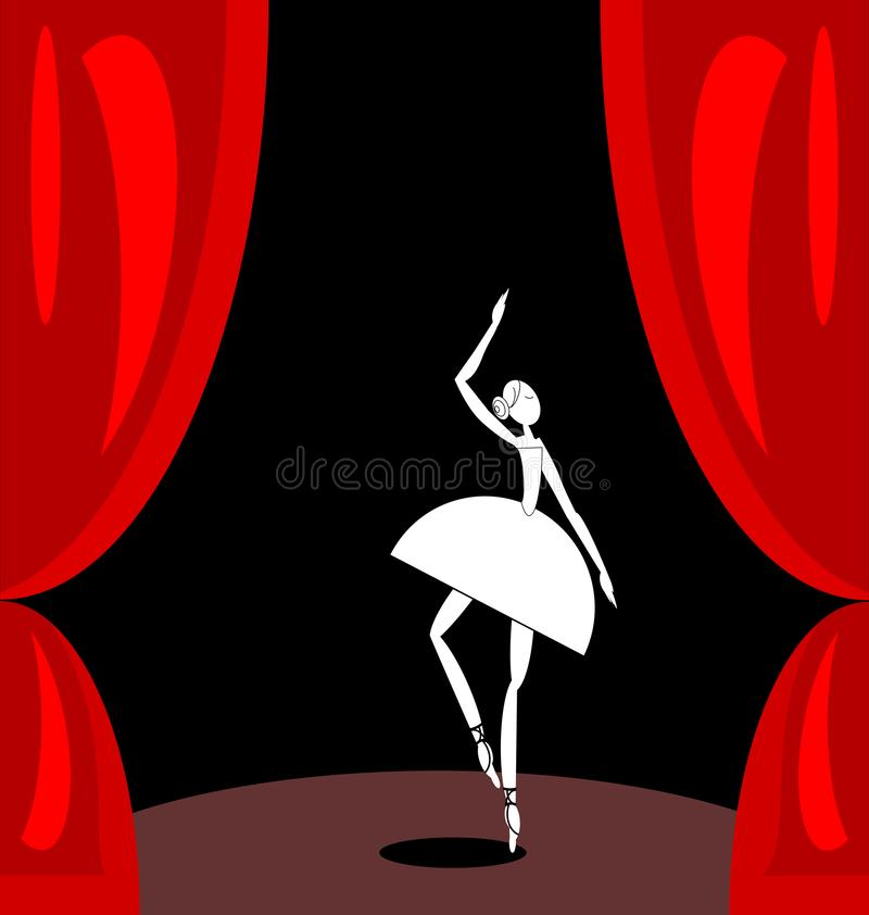 Escena rojo oscuro y bailarín de ballet abstracto blanco ilustración del vector