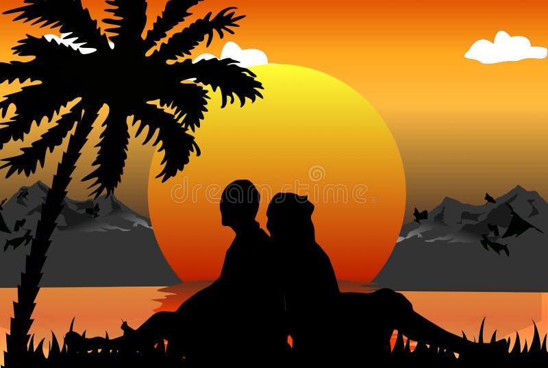Escena romántica ilustración del vector