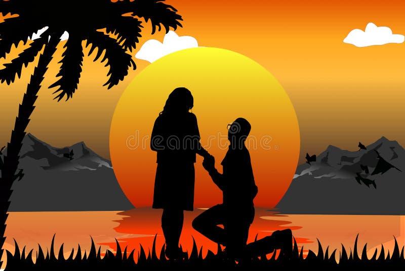 Escena romántica stock de ilustración