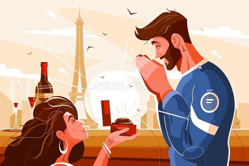 Escena romántica de amantes libre illustration