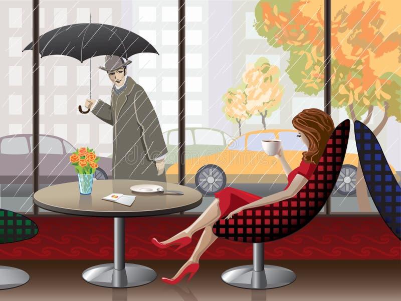 Escena romántica en el café stock de ilustración