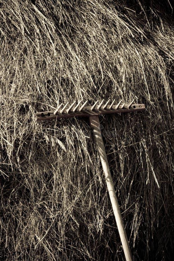 Escena rural del haystack tradicional foto de archivo