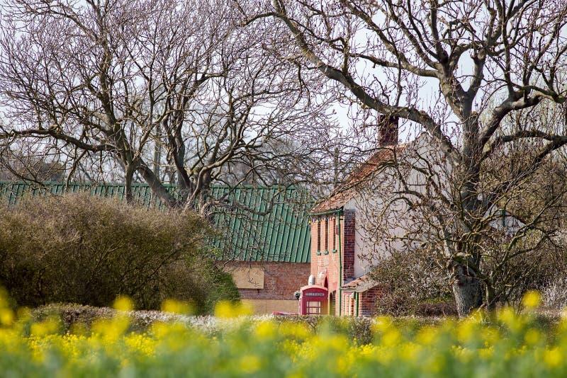 Escena rural del país de Inglaterra con el pub de los árboles y la cabina de teléfonos roja foto de archivo libre de regalías