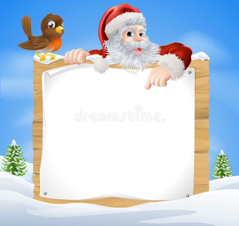 Escena Santa Sign de la nieve de la Navidad stock de ilustración
