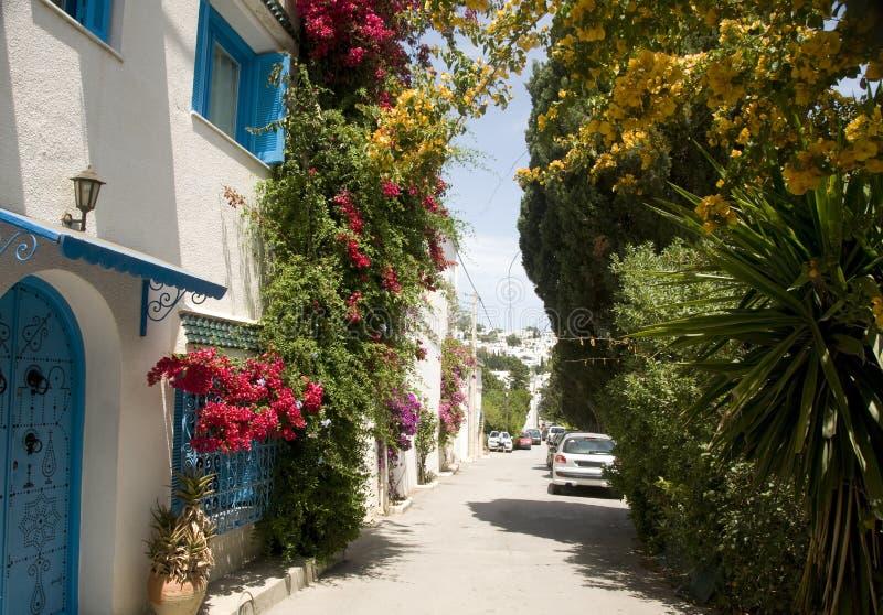 Escena Sidi Bou Túnez dicho de la calle fotografía de archivo