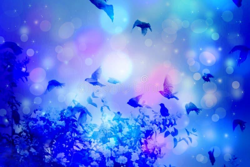 Escena soñadora del invierno con los pájaros del estornino que vuelan contra el cielo azul con la luz del bokeh ilustración del vector
