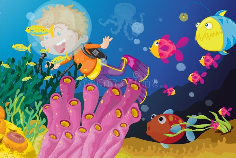 Escena subacuática ilustración del vector