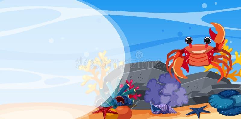 Escena subacuática con el cangrejo en roca ilustración del vector